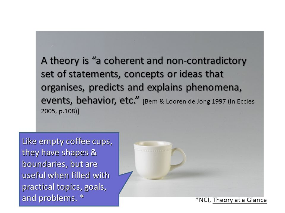 A theory is a coherent and non-contradictory set of statements, concepts or ideas that organises, predicts and explains phenomena, events, behavior, etc. [Bem & Looren de Jong 1997 (in Eccles 2005, p.108)]